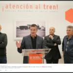 Víctor González acompañado de Salomón Castiel, Javier Ramírez y Michel Rennes en la rueda de prensa de la exposición ¡Atención al tren!. Noviembre, 2016.