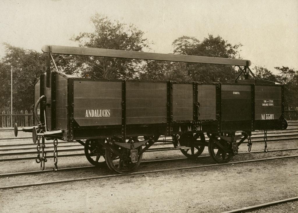 Vagón de transporte de mercancías de Ferrocarriles Andaluces. Foto Osuna, Málaga.